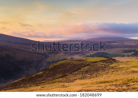 Sally Gap in Wicklow Mountains at sunset - stock photo