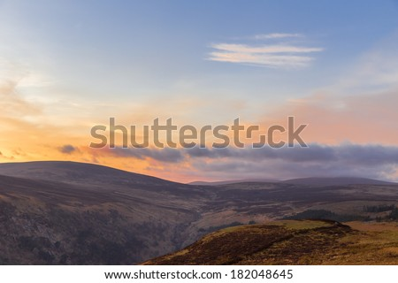 Sally Gap in Wicklow Mountains at twilight - stock photo