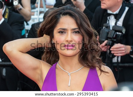 Salma Hayek attend the 'Carol' premiere during the 68th annual Cannes Film Festival on May 17, 2015 in Cannes, France. - stock photo