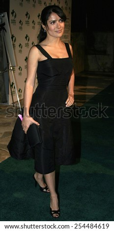 Salma Hayek attends the Global Green Pre-Oscar Party held at the Day After Club in Hollywood, California on February 24, 2005.  - stock photo
