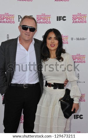 Salma Hayek & Francois-Henri Pinault at the 2013 Film Independent Spirit Awards on the beach in Santa Monica. February 23, 2013  Santa Monica, CA Picture: Paul Smith