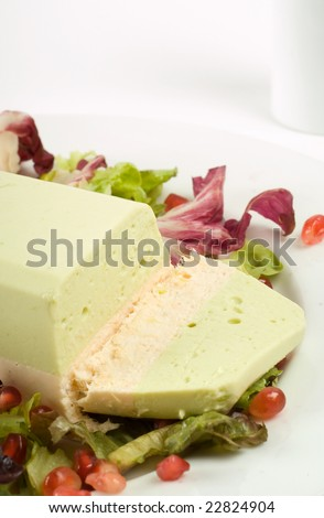 Salmon and avocado terrine on white plate with salad - stock photo