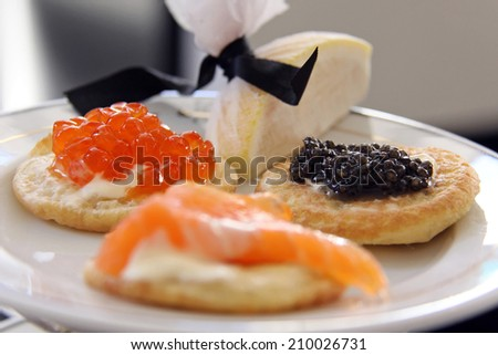 ... caviar chopped salad salmon and caviar blini salmon and caviar blini