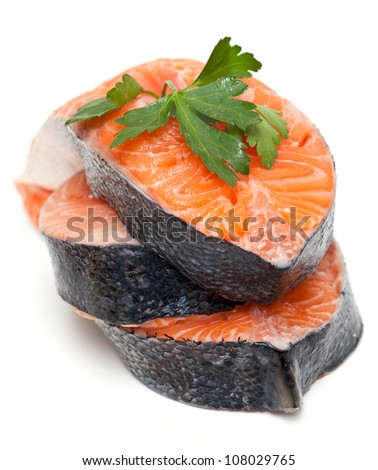 salmon and parsley - stock photo