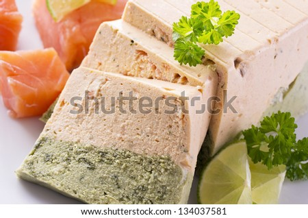 salmon and spinach terrine - stock photo