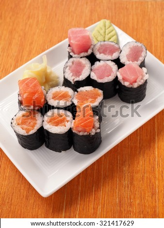 Salmon and tuna inside roll, japanese food