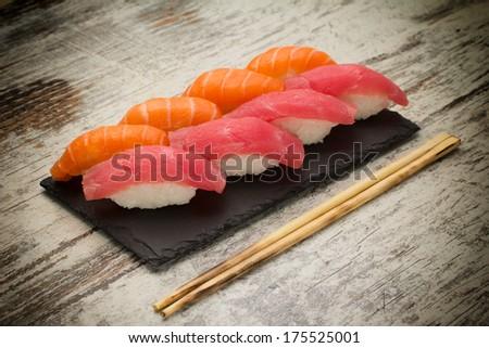 Salmon and tuna sushi nigiri - stock photo