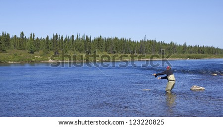 salmon angler in action on a river