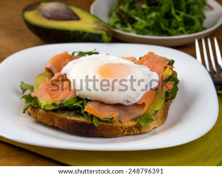 Salmon, avocado and egg sandwich, healthy eating - stock photo