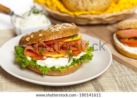 Salmon Bagel Sandwich - stock photo