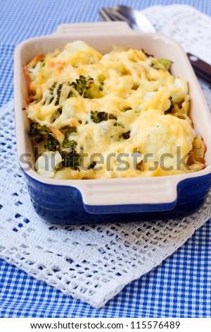 Salmon Broccoli And Cauliflower Pasta Bake With Cheese