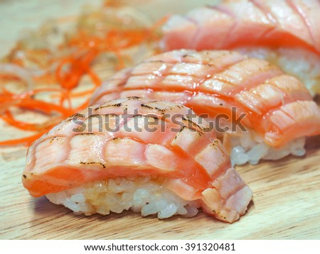 salmon burned mayo nigiri. Healthy Japanese Nigiri Sushi with Rice and Fish (Japanese food)