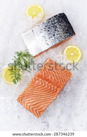 Salmon Filet on Ice - stock photo