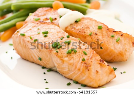 Salmon filet with Beans - stock photo