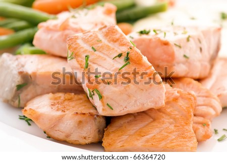 Salmon filet with Beans - stock photo