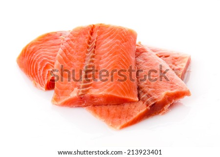 salmon fillet. Fresh sliced salmon fish - stock photo