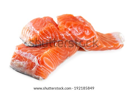 Salmon fillet on a white background - stock photo
