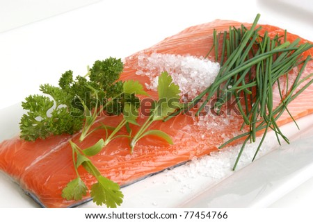 Salmon fillet on a white plate is prepared as food - stock photo