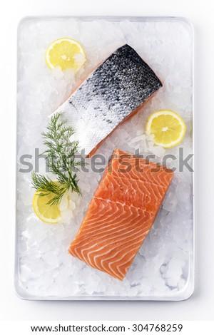 Salmon Fillet on Ice - stock photo