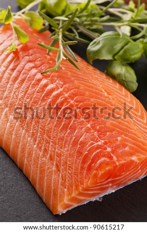 Salmon fillet on the slate plate - stock photo