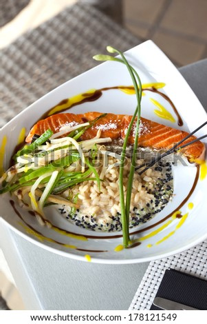 Salmon fillet, rice and vegetables on a plate