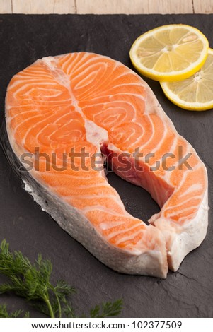 Salmon fish fillet - stock photo