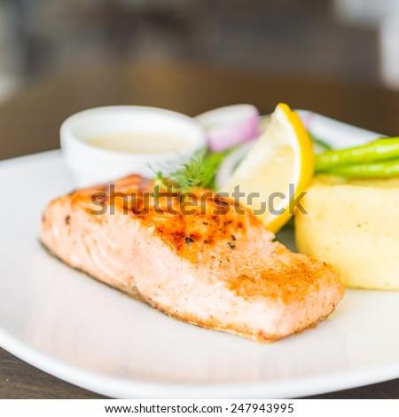 Salmon fish fillet grilled steak - stock photo