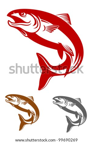 Salmon fish mascot in retro style isolated on white background, such  a logo. Vector version also available in gallery - stock photo