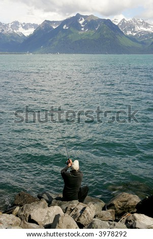 Salmon fishing in Alaska - stock photo