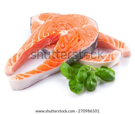Salmon. Fresh raw salmon fish steak isolated on a white background - stock photo