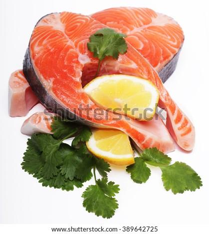Salmon. Fresh raw salmon red fish steak. - stock photo