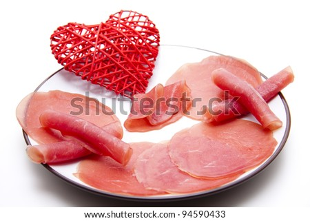 Salmon ham with heart