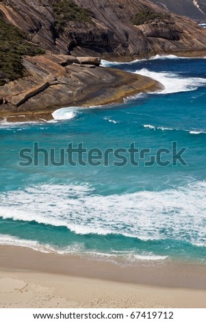 Salmon Holes Beach, in Torndirrup National Park, near the town of  Albany in Western Australia. - stock photo