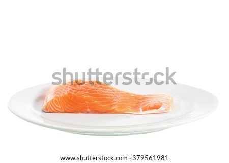 Salmon in plate on white background with clipping path