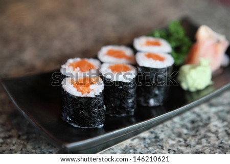 Salmon Maki sushi - stock photo