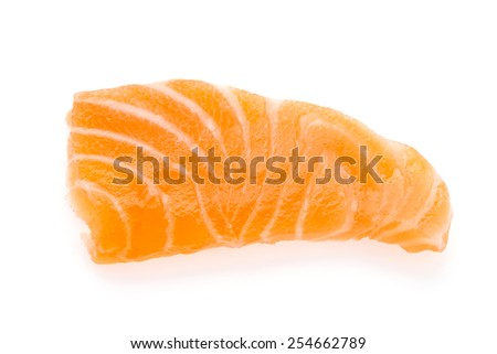 Salmon meat sashimi isolated on white background