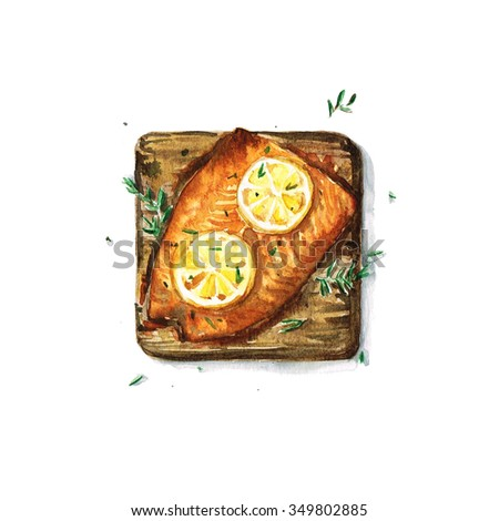 Salmon on plank - Watercolor Food Collection - stock photo