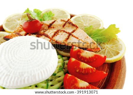 salmon pepper and greek soft cheese on wood - stock photo