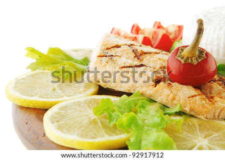 salmon pepper and greek soft cheese on wood