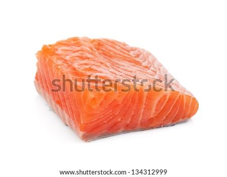 Salmon piece. Isolated on white background - stock photo