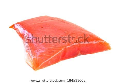 Salmon raw fillet isolated on white background - stock photo