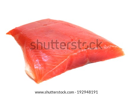 Salmon raw fillet isolated on white background