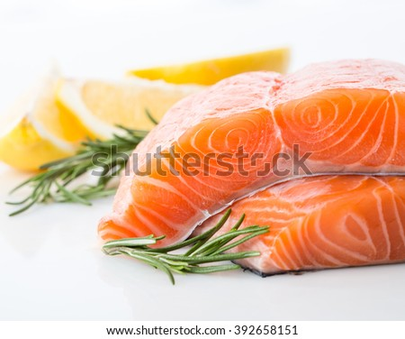 salmon raw fillet red fish isolated on a white background - stock photo