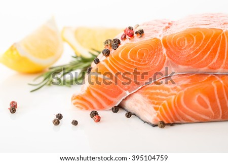 salmon red fish on a white background - stock photo