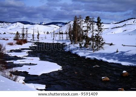 Salmon river in february near Stanley Idaho - stock photo