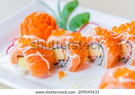 Salmon roll sushi - stock photo