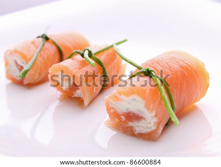 salmon roll with cheese - stock photo