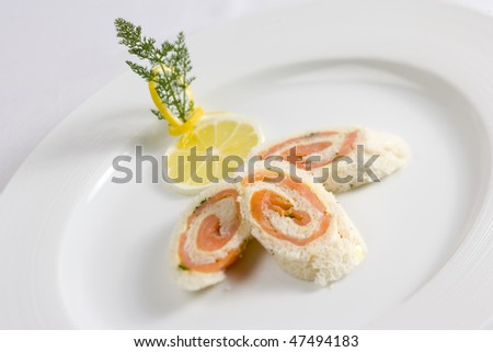 salmon rolls - stock photo