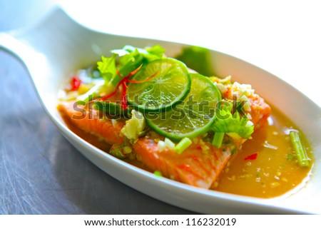 Salmon salad with vegetables, Thai Style - stock photo