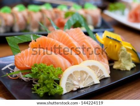 Salmon sashimi - stock photo